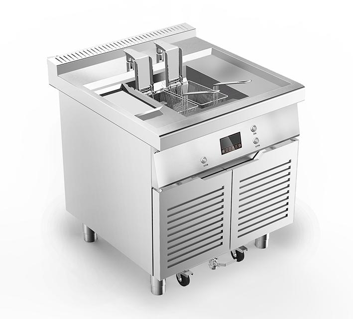 电磁升降油炸炉带滤油车-D800